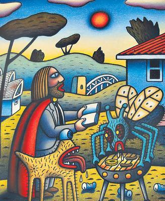 Barbecue, by Reg Mombassa.