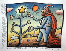 jesus selects presents from the christmas tree - reg mombassa