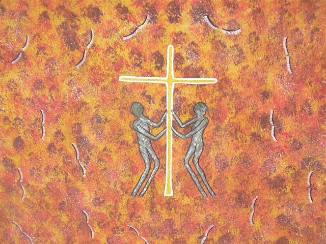 Cross by aboriginal artist Gloria Leigh