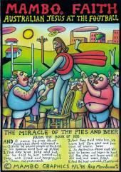 """""""Australian Jesus at the Football"""" by Reg Mombassa"""