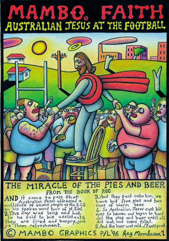 Australian Jesus at the Football by Reg Mombassa