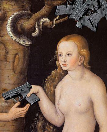 Eve-offering-the-gun-to-adam-in-the-garden-of-eden