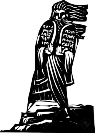 Woodcut-style-image-of-the-Biblical-Moses-bringing-the-ten-commandments-down-from-the-mountain--Stock-Vector