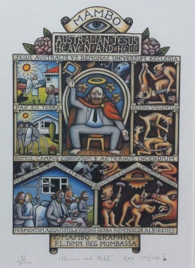 """Australan Jesus heaven and hell"" by Reg Mombassa"