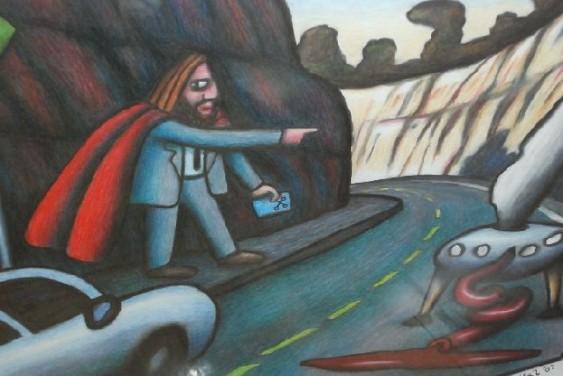 """Australian Jesus Hitch-Hiking on the F3"" by Reg Mombassa"