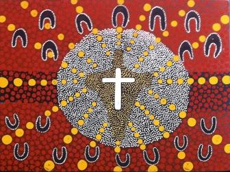 Aboriginal artist Robin (Goma) Conlon Christ-the-centre