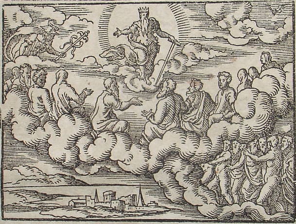 Council of gods before the Deluge. Engraving by Virgil Solis for Ovid's Metamorphoses Book
