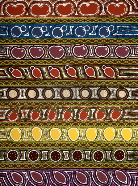FRUITS of the spirit by aboriginal artist Narelle Urquhart