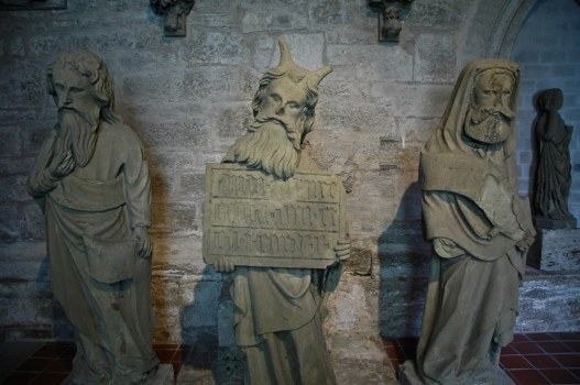 What you see here is a statue of moses with horns. I believe it is a replica of one on the cathedral