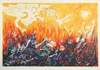"Abraham Rattner (American, 1895–1978), ""Valley of Dried Bones."" Color lithograph on paper, 23.5 × 35.5 in. Source: http://www.artnet.com/artists/abraham-rattner/untitled-TLZv4guBTNnB34OH7dXJdA2"
